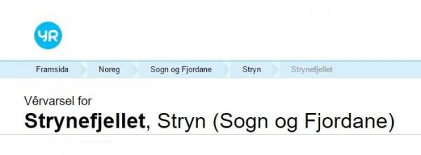 vervarsel Strynefjellet Yr.no